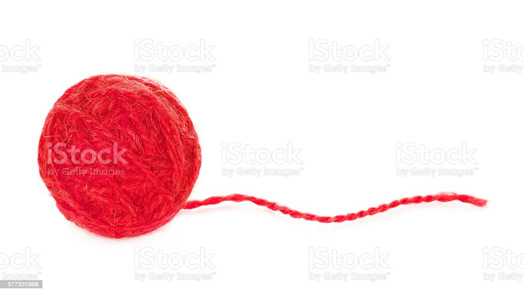 Red Yarn Ball stock photo