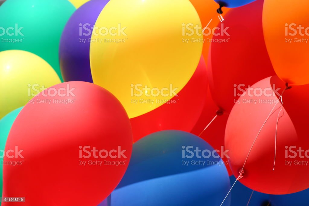Red Yellow and Blue Balloons stock photo