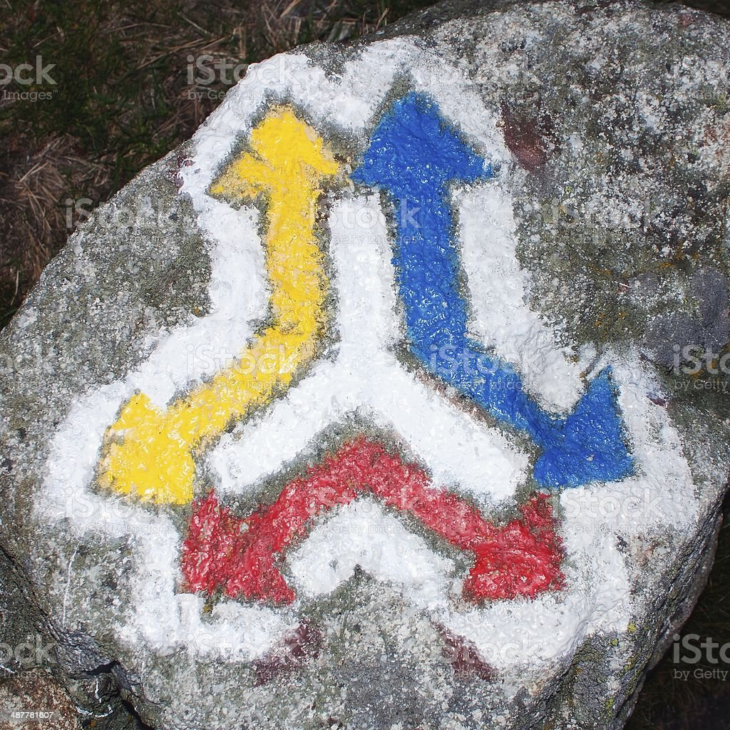 red yellow and blue hiking trail signs symbols stock photo