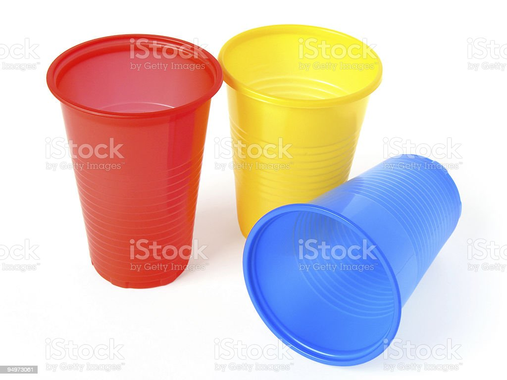 Red, yellow and blue plastic cups royalty-free stock photo