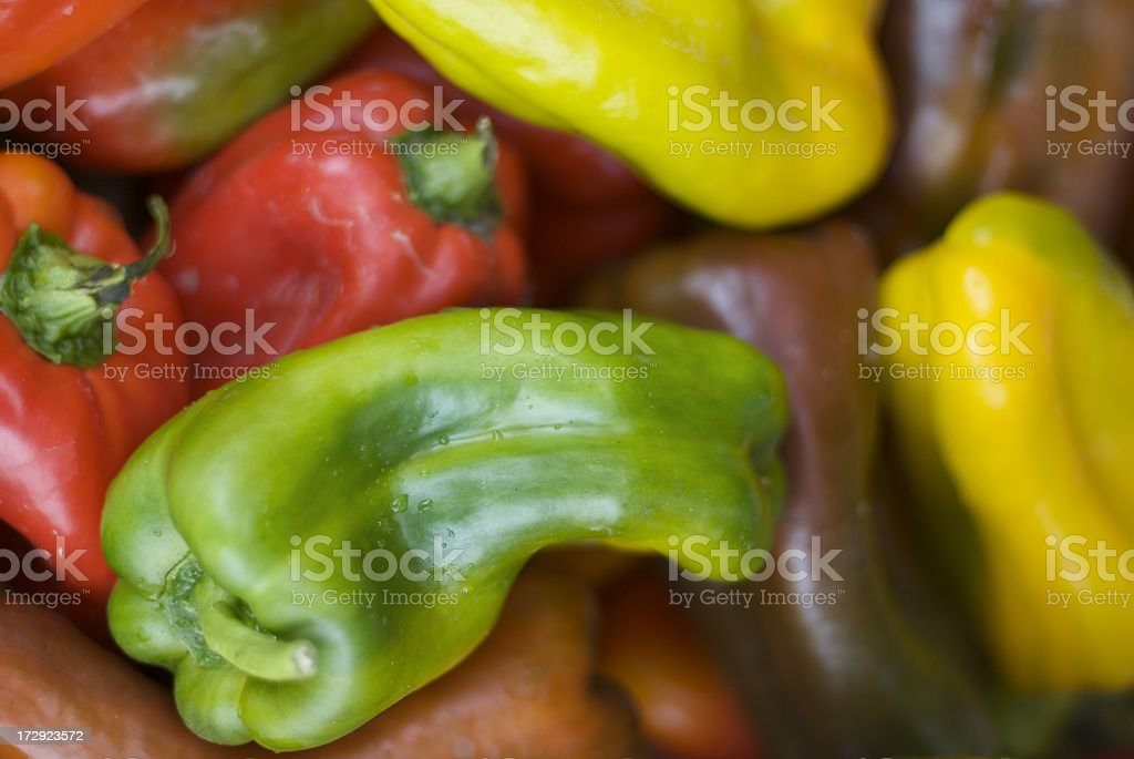 Red Yellow and Green Peppers stock photo