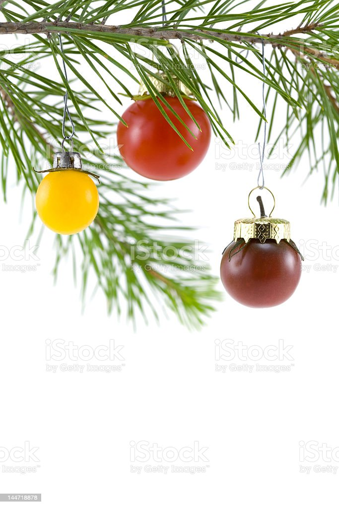Red, Yellow, and Purple Tomato Ornaments royalty-free stock photo