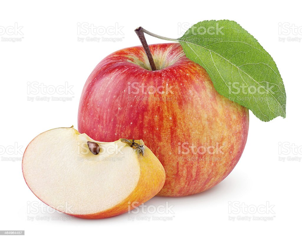 Red yellow apple with leaf and slice stock photo