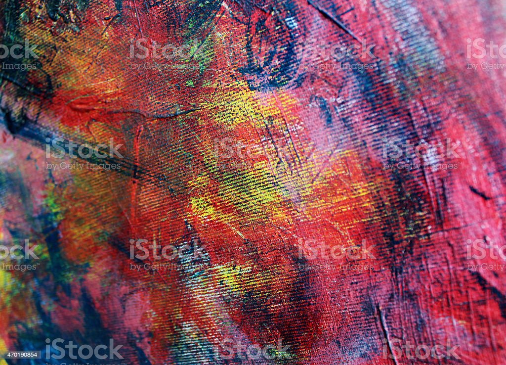 Red, yellow, blue, and black abstract acrylic painting stock photo