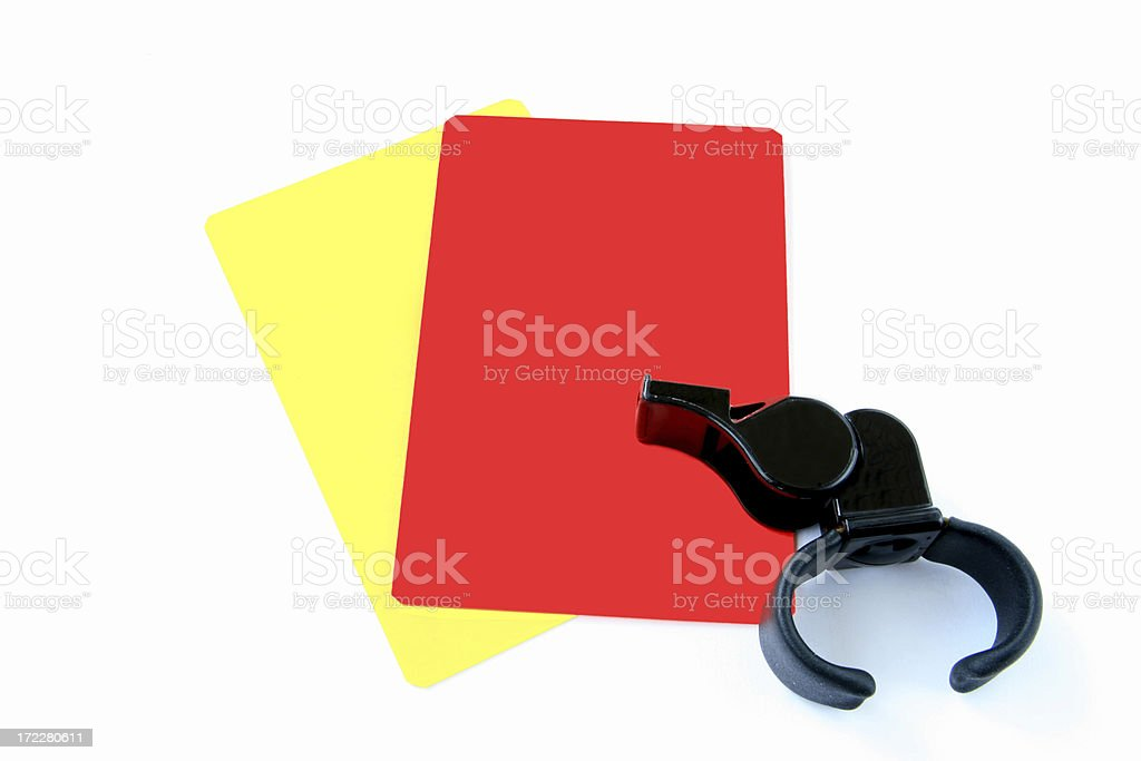 red, yellow cards and whistle stock photo