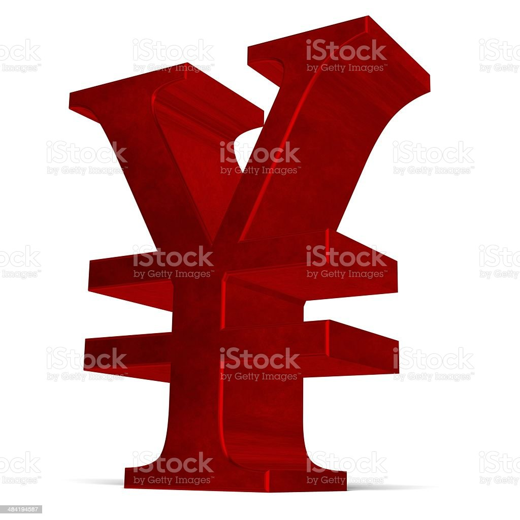 Red yen or yuan sign on white stock photo