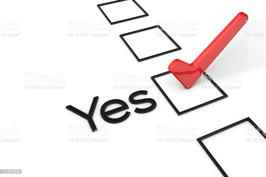 Red yes vote tick box stock photo