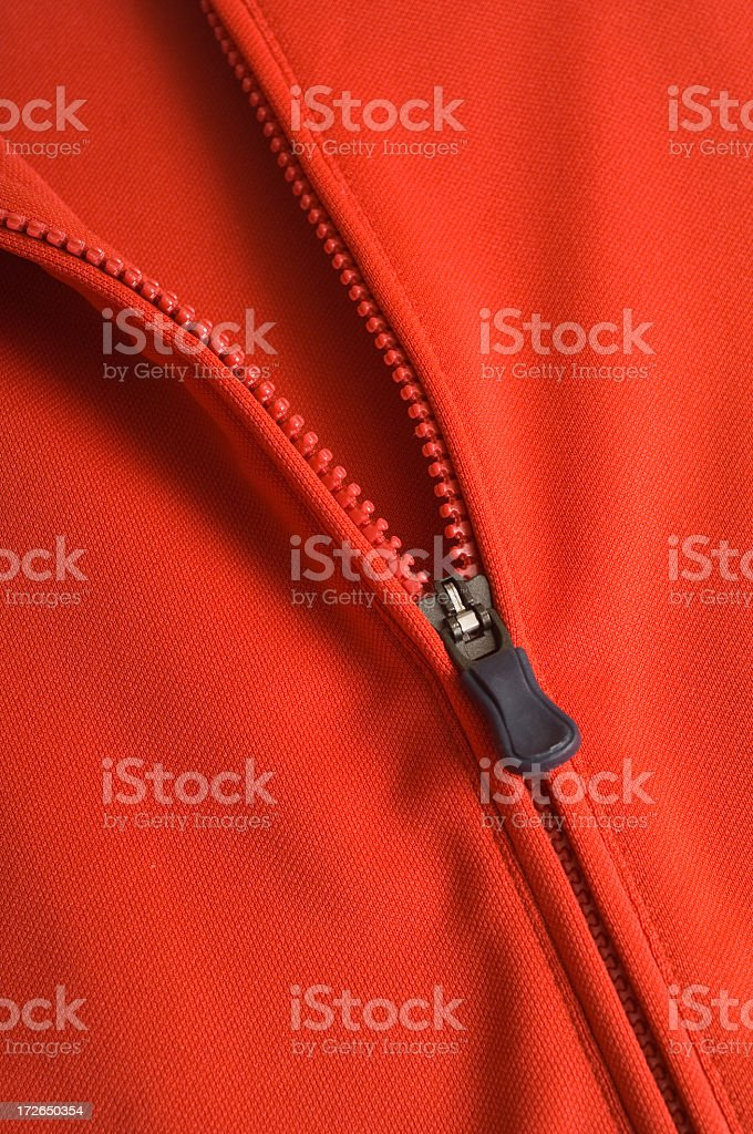 Red zipper in black with jacket royalty-free stock photo