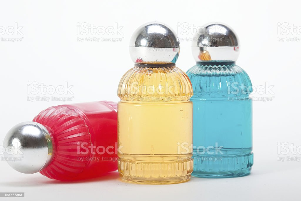 red,blue and yellow soap bottles stock photo