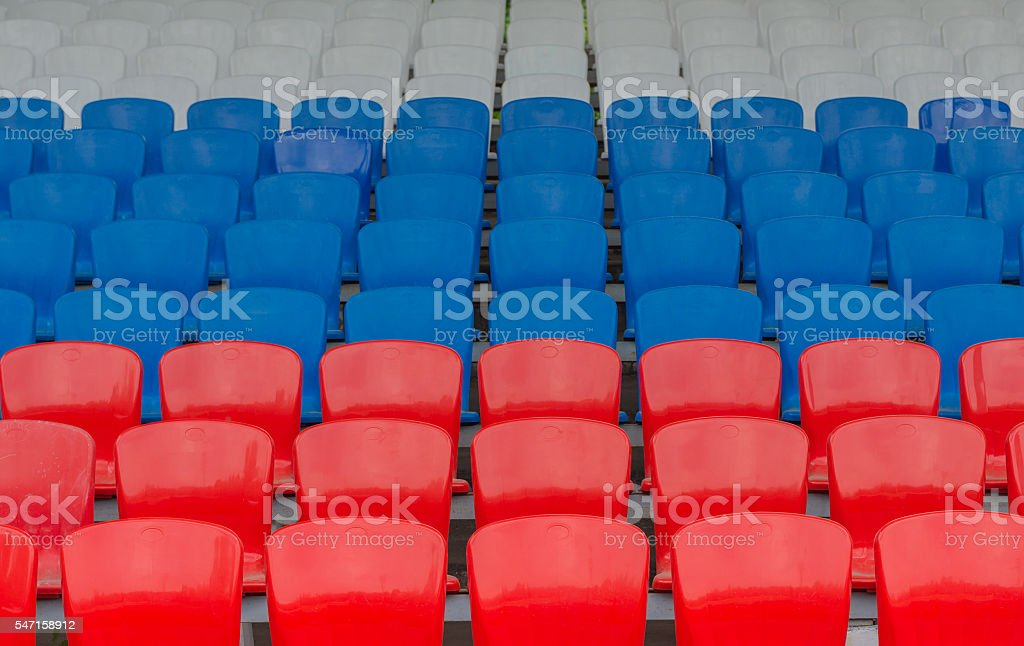 red-blue-white grandstand at the stadium stock photo