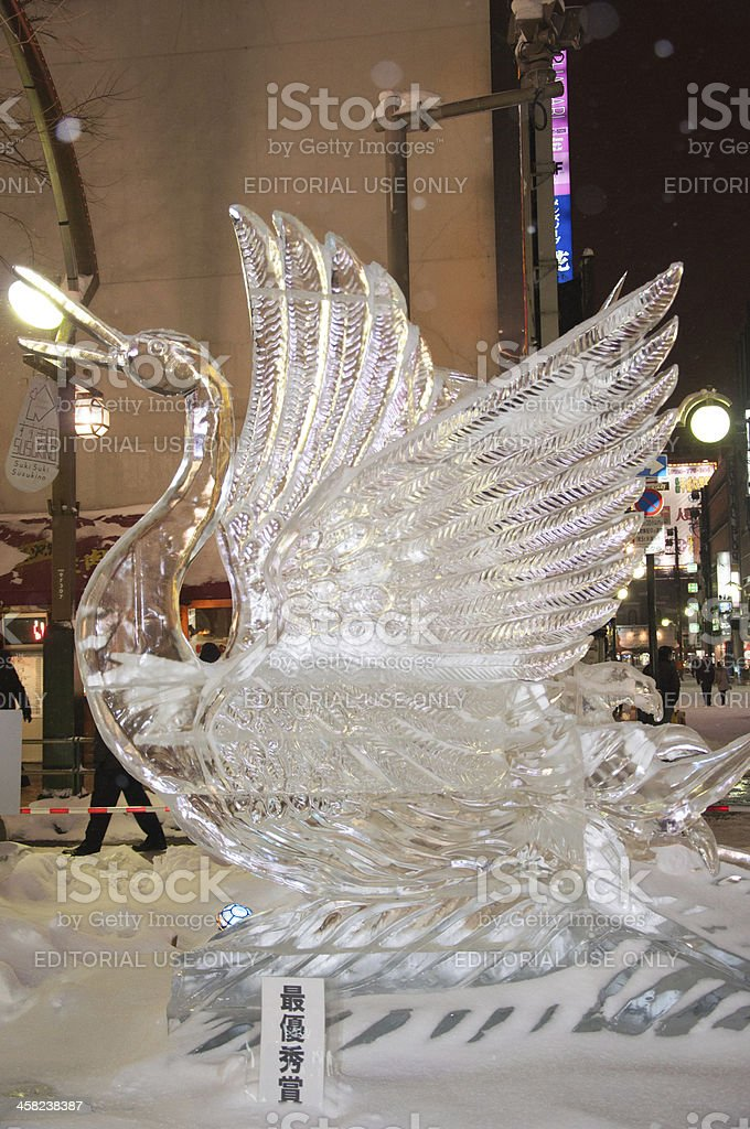 Red-crowned Crane at 33rd Susukino Ice Festival stock photo