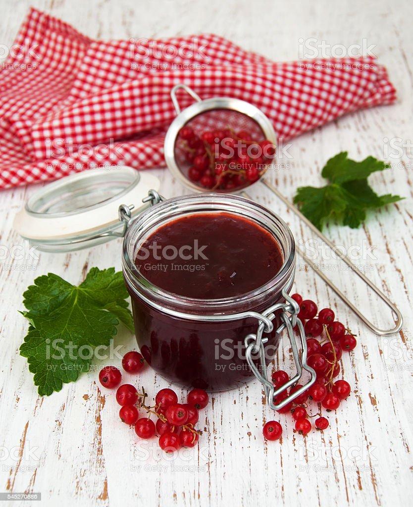Redcurrants jam stock photo