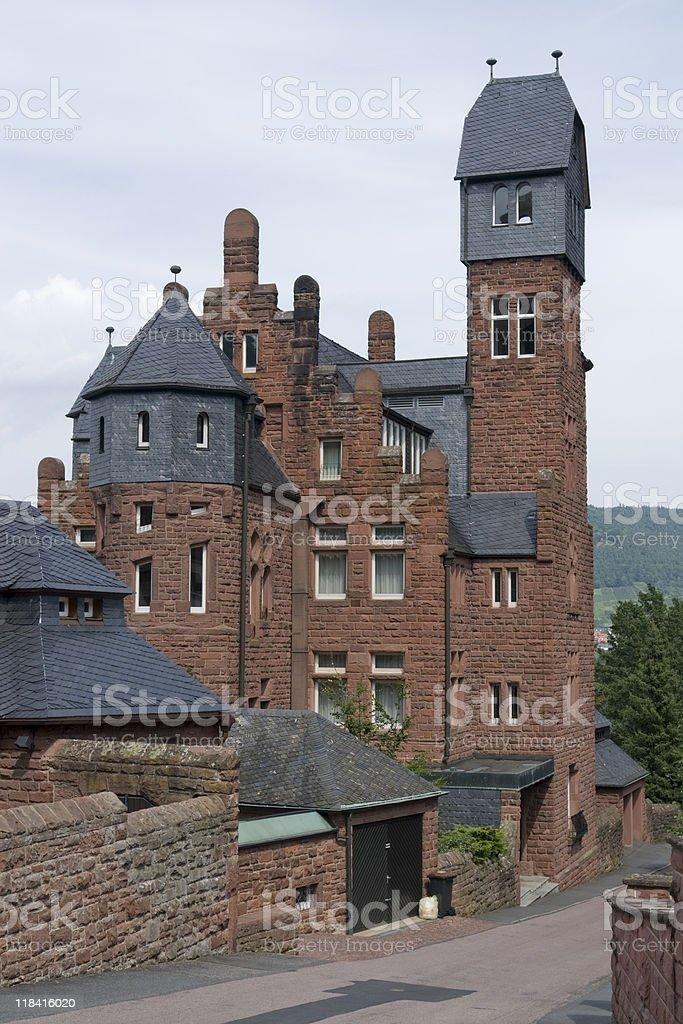 reddish brick house in Miltenberg stock photo