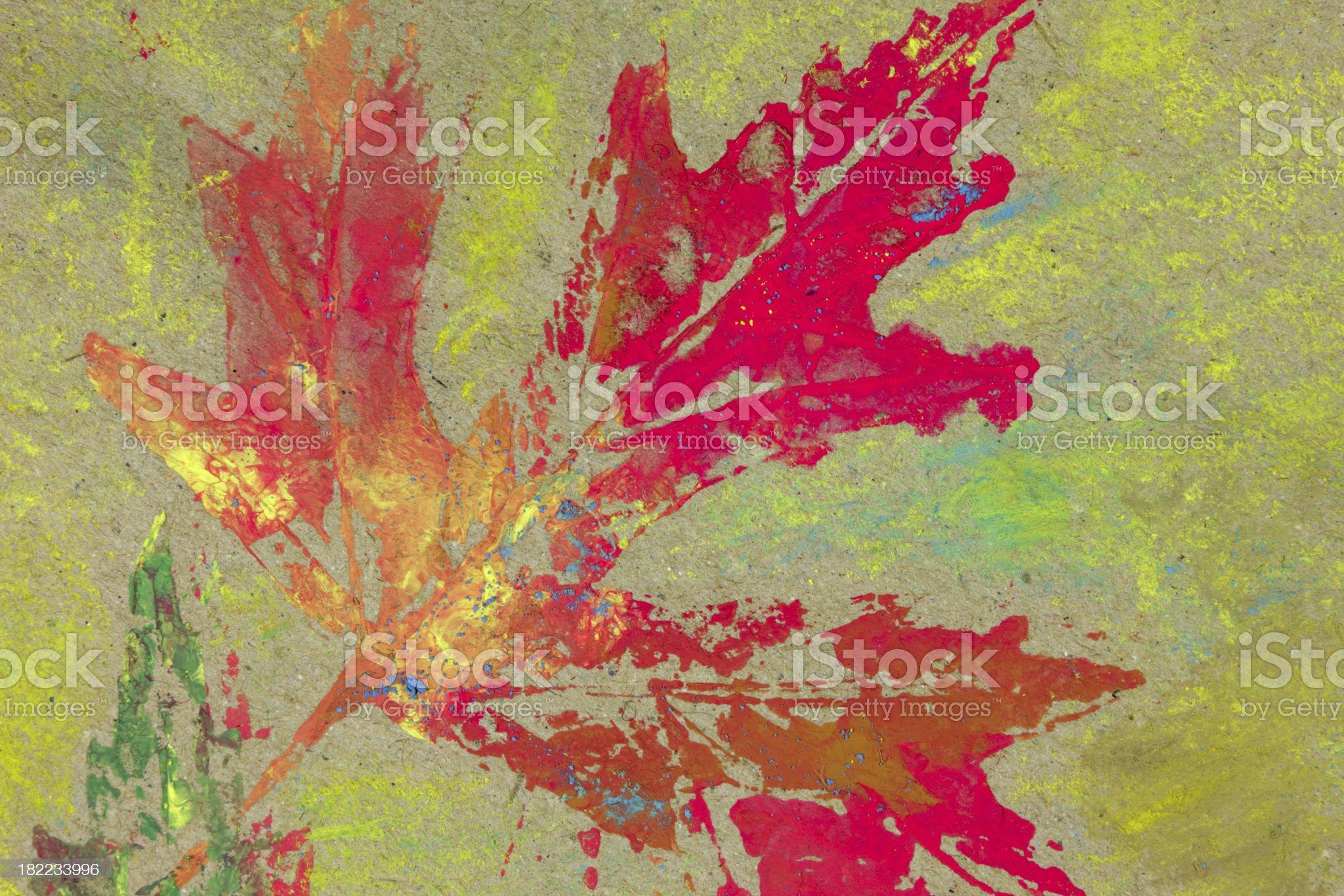 Reddish shape of a maple leaf (tempera painting fragment) royalty-free stock photo