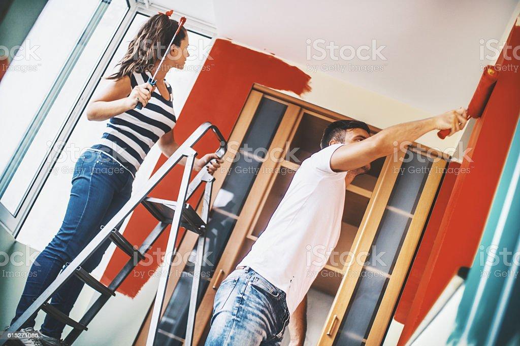 Redecorating apartment. stock photo