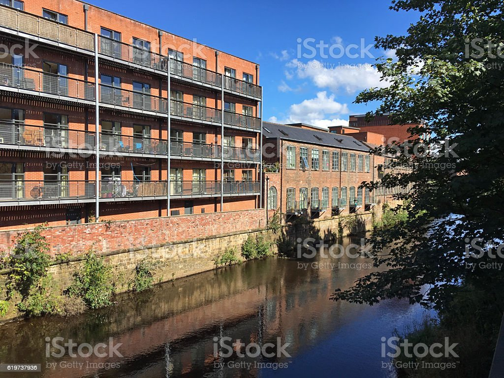 Redevelopment of industrial buildings at Sheffield canal, England stock photo