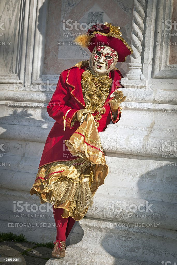 Red-Gold Female Mask, Venice 2013 Carnival, Italy royalty-free stock photo