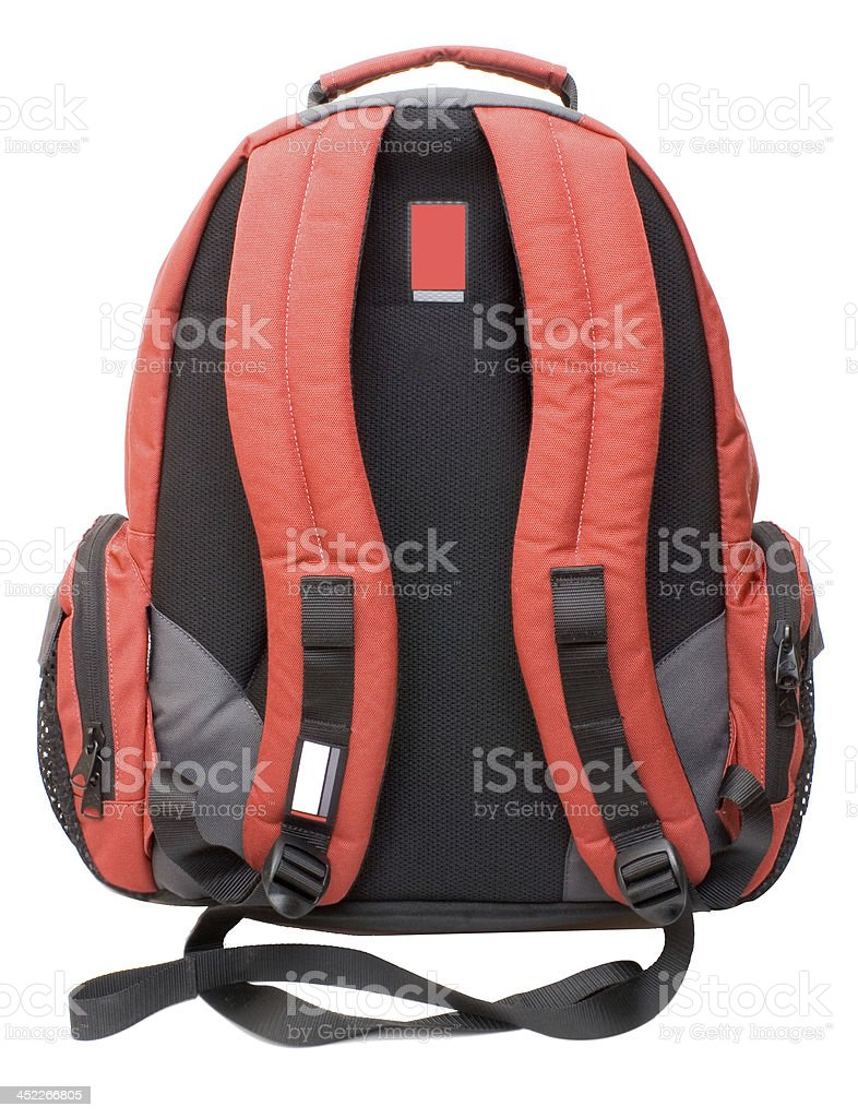 Red-Gray backpack stock photo