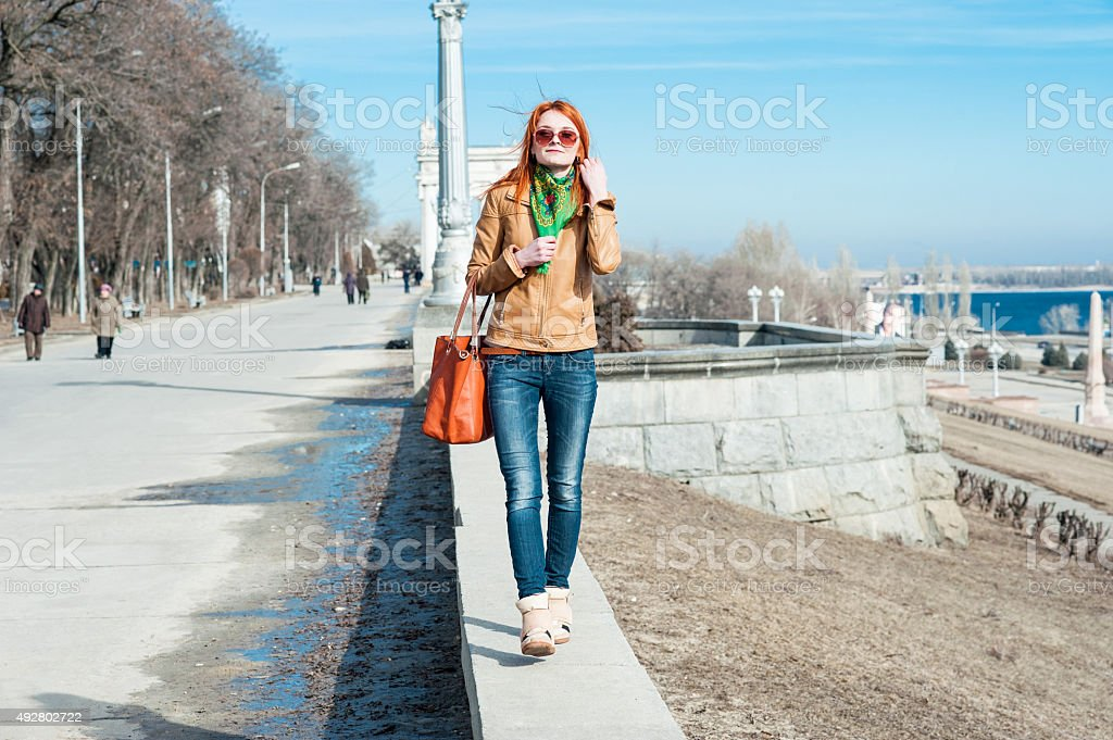 Red-haired girl stock photo