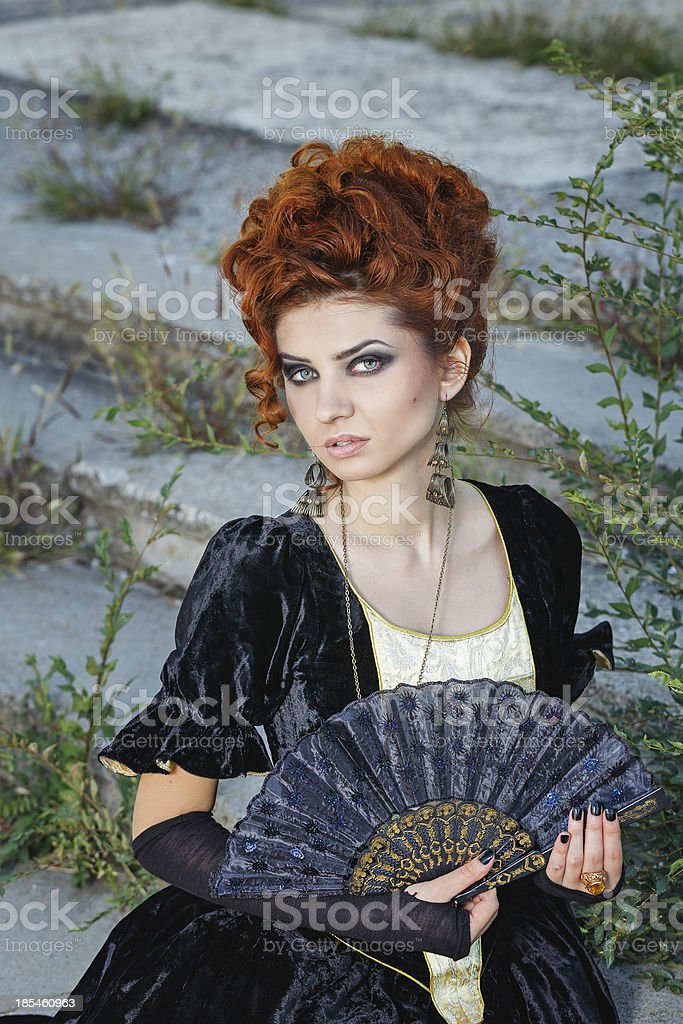Red-haired lady stock photo