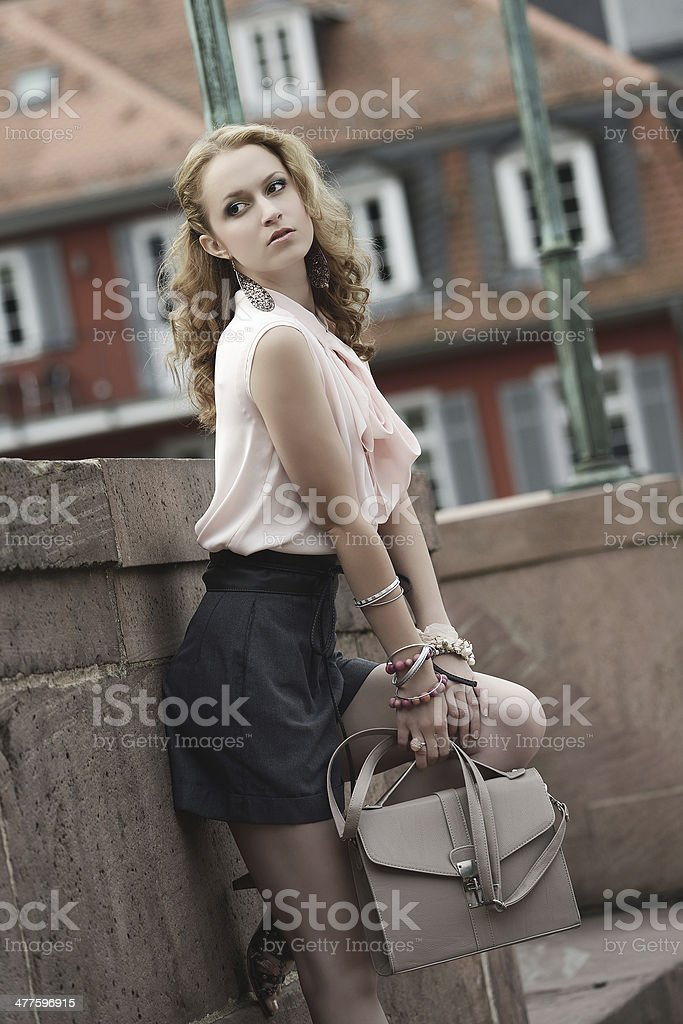 Red-haired young Woman Fashion Summer Outfit at Bridge royalty-free stock photo