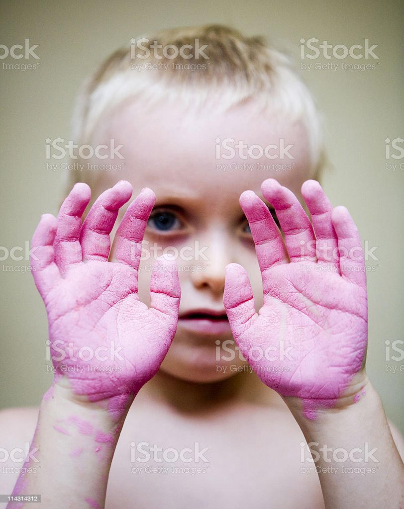 Red-handed stock photo