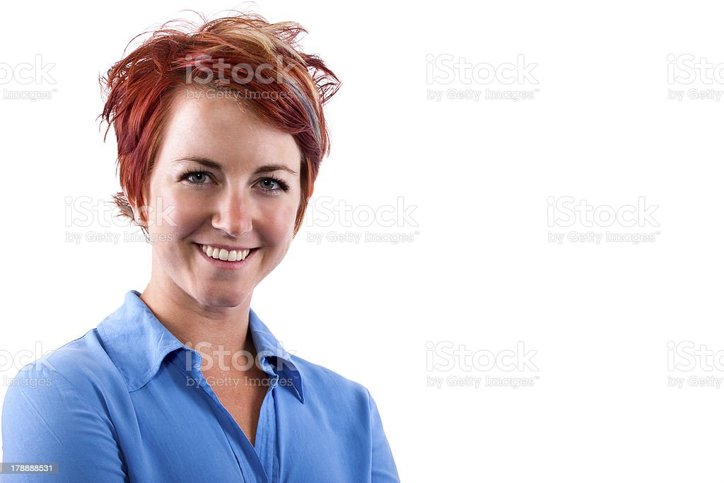 Redhead Female With Cool Hairstyle with Text Space royalty-free stock photo