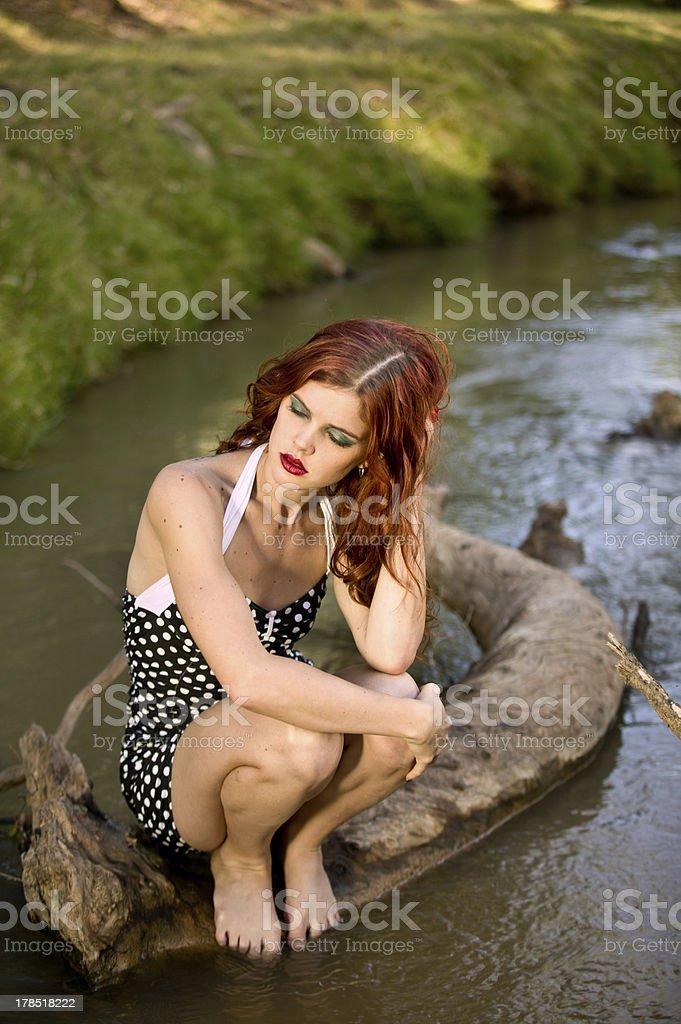 Redhead In Stream stock photo