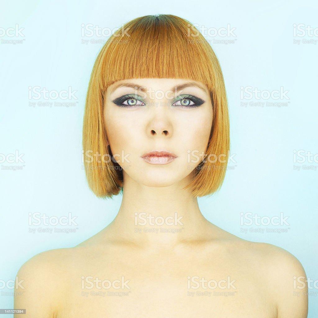 Redhead lady with bob stock photo