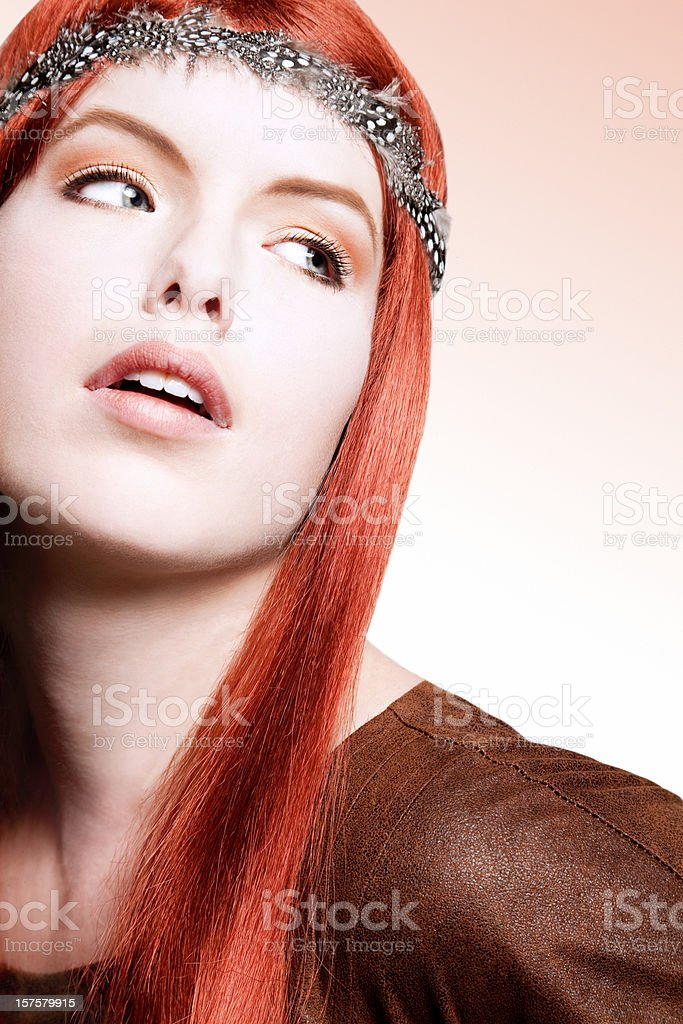 Redhead looking away royalty-free stock photo