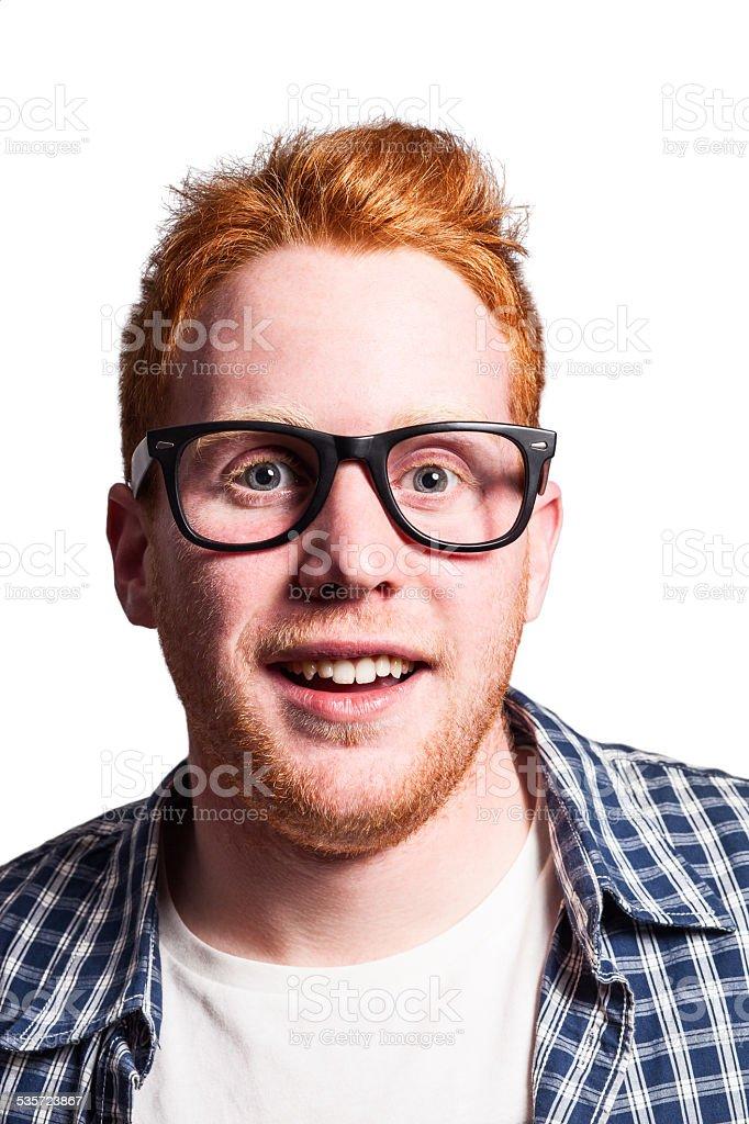 Redhead nerd stock photo
