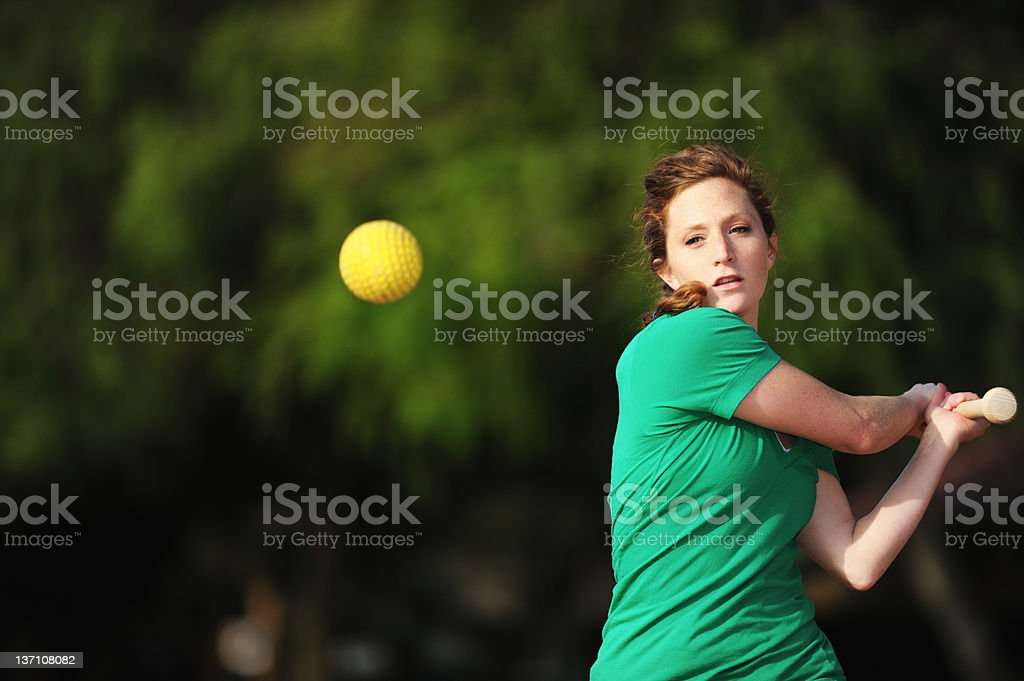 Redhead with freckles Playing Softball stock photo