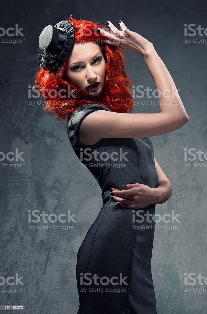 Redhead woman indoors royalty-free stock photo