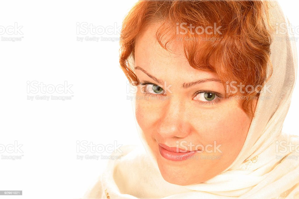 redheaded curly attractive girl in headscarf royalty-free stock photo