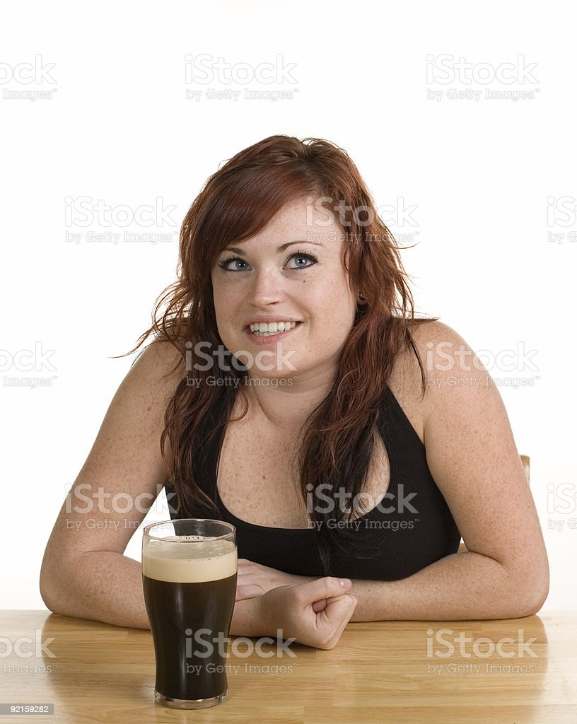 Redheaded Girl and Stout royalty-free stock photo