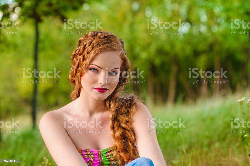 redheaded girl portrait stock photo