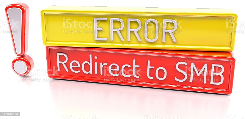 Redirect to SMB - Computer system error warning stock photo
