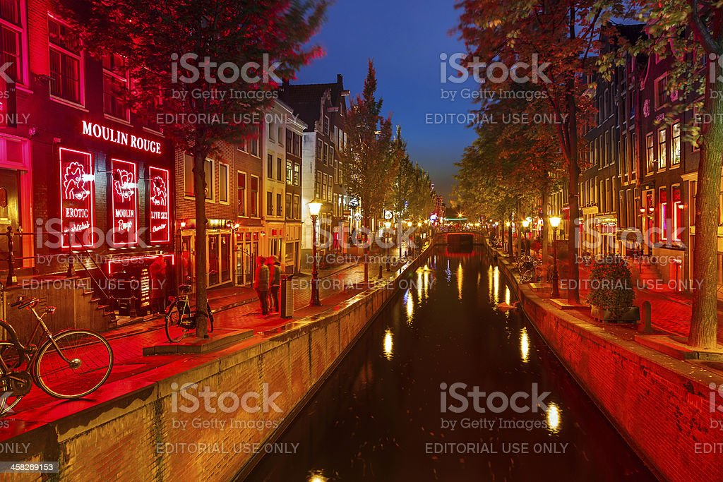 Red-light district in Amsterdam stock photo