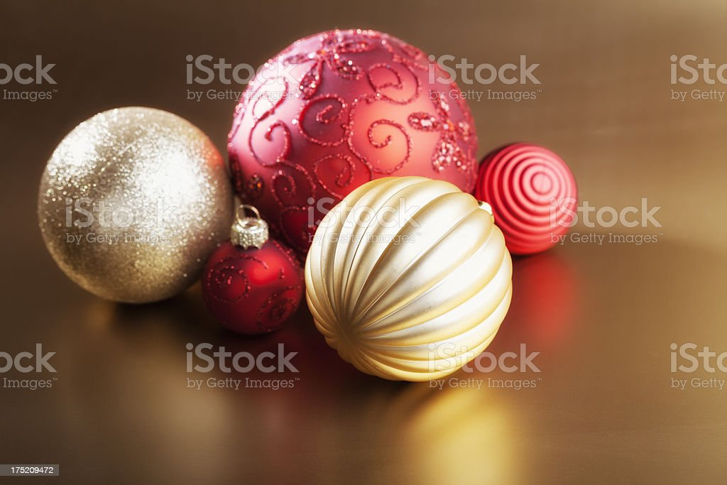 redn and gold christmas baubles stock photo