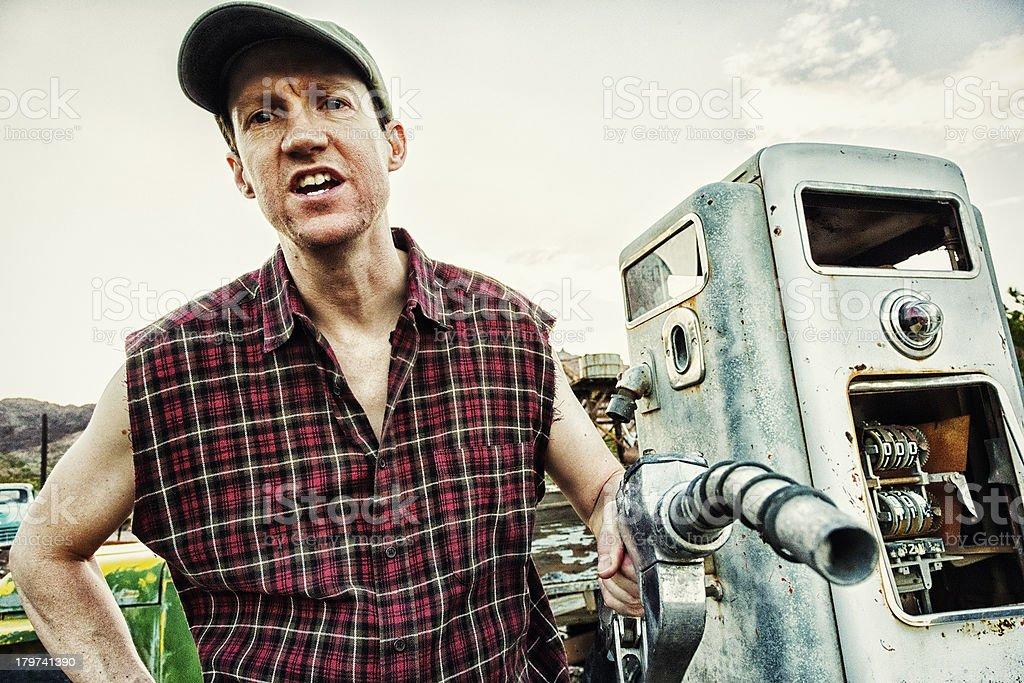 Redneck Gas Station Attendant stock photo