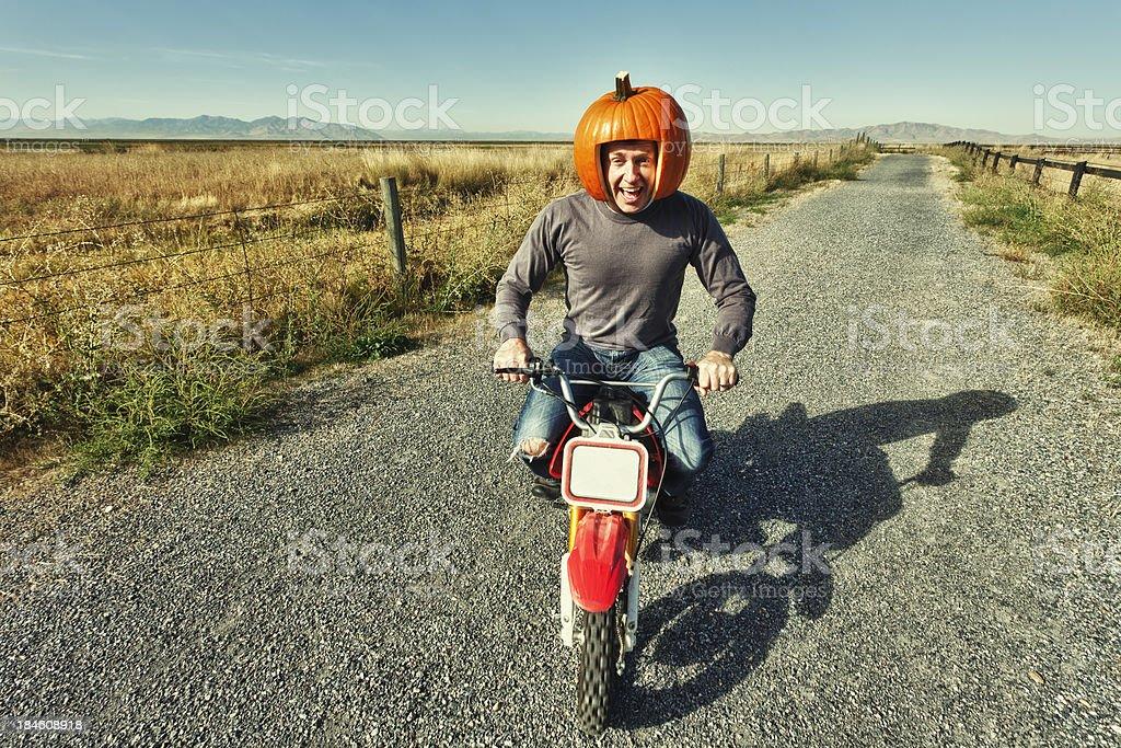Redneck Pumpkin Motorcycle Racer royalty-free stock photo