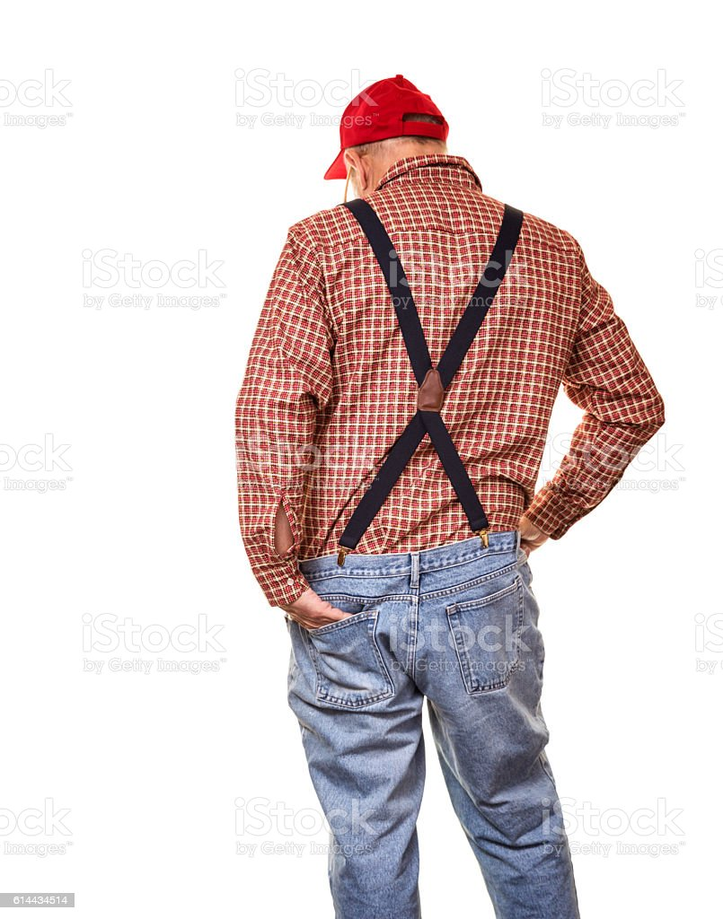 Redneck Red Hat Suspenders Hillbilly Senior Man Rear View stock photo