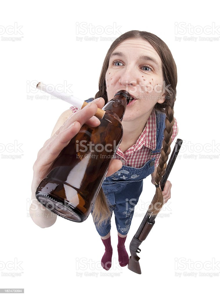 Redneck Woman Chugging Beer stock photo