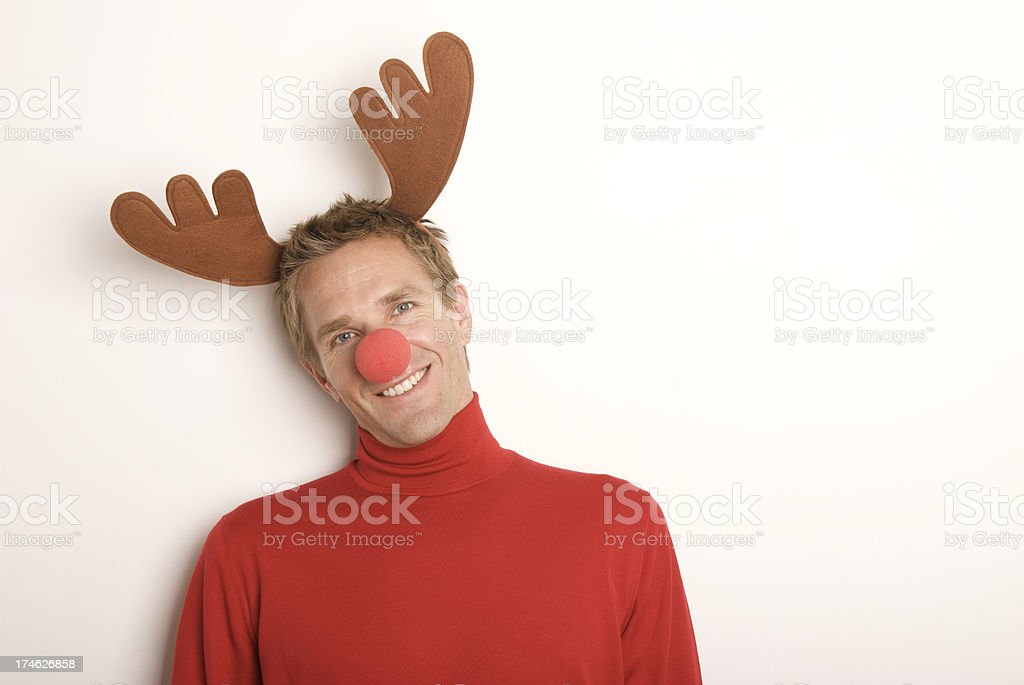 Red-Nosed Reindeer Christmas Holiday Man Smiling White Background royalty-free stock photo