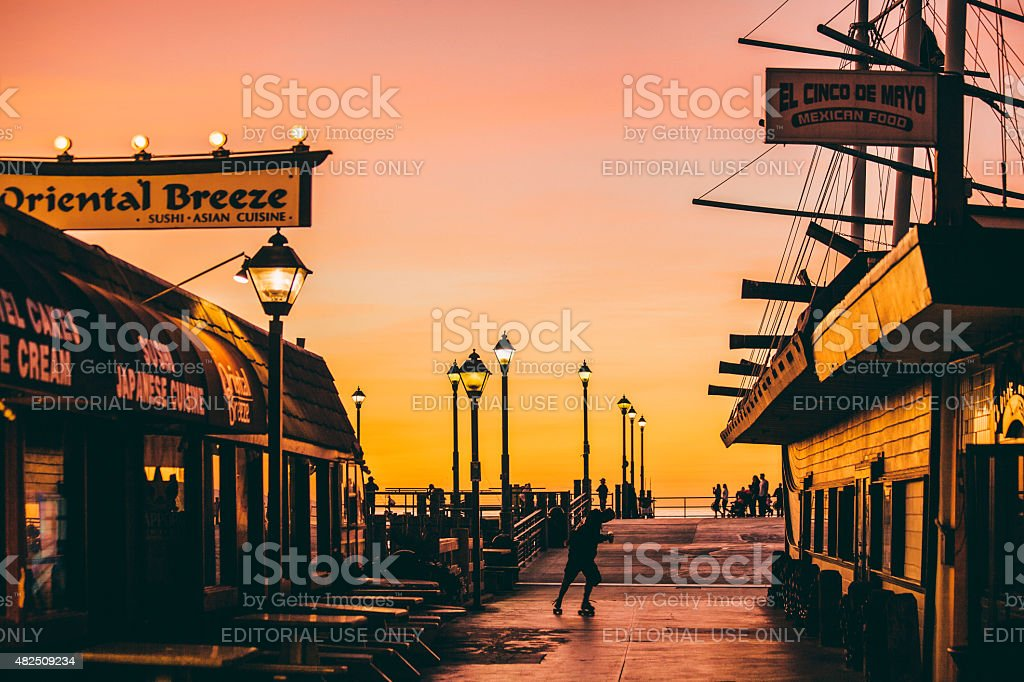 Redondo Beach pier at sunset. stock photo