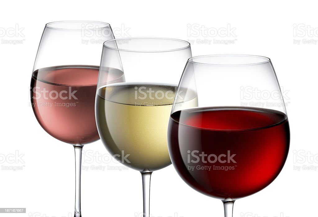 Red,Rose and White Wine stock photo