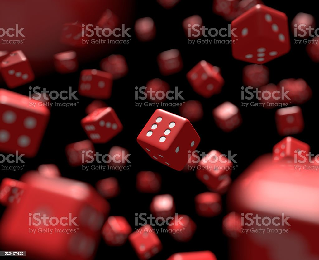 Reds dice falling stock photo