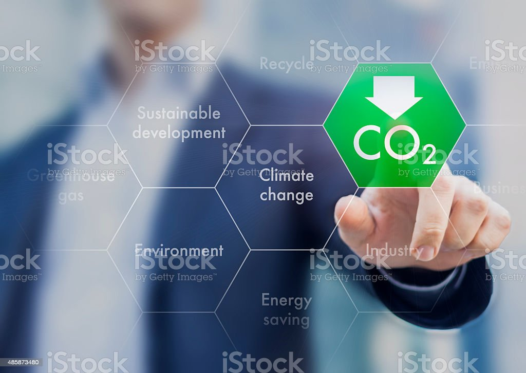 Reduce greenhouse gas emission for climate change and sustainabl stock photo