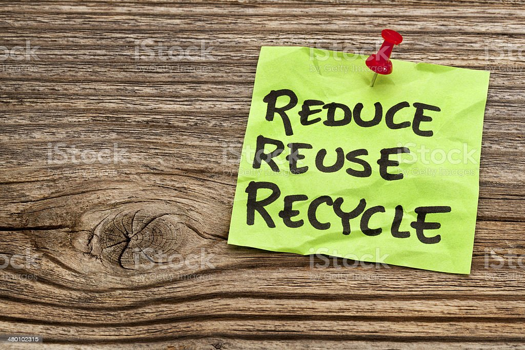 reduce, reuse and recycle note stock photo