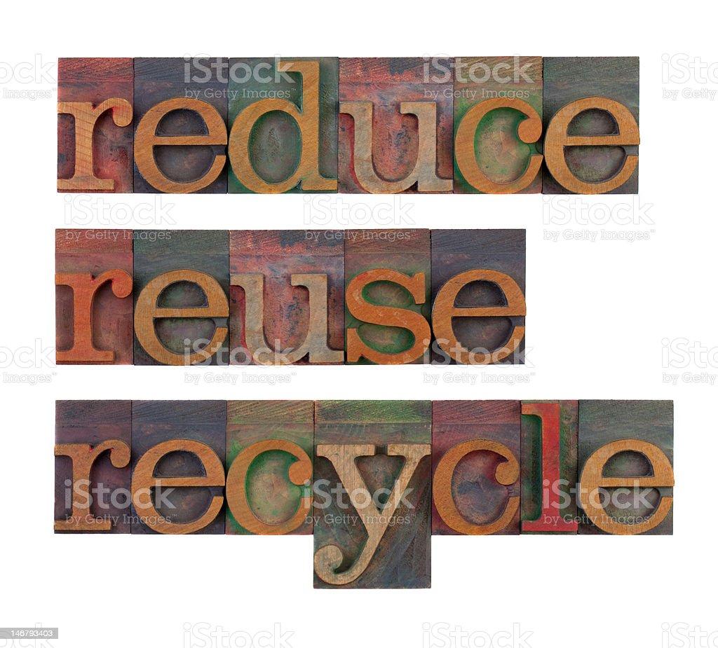 Reduce, reuse, recycle in letterpress blocks stock photo